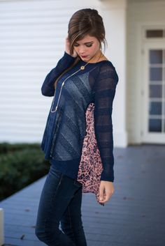YES!!! This navy top is so cute! #fashion #style #lace