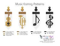 Printable or Downloadable Beaded Music Fringe Earrings bead graph