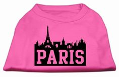 Mirage Pet Products 12-Inch Paris Skyline Screen Print Shirt for Pets, Medium, Bright Pink