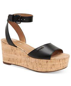 b5d1512f97ae COACH Becka Platform Wedge Sandals Shoes - Sandals   Flip Flops - Macy s