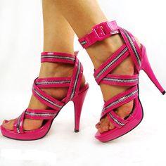 Pink zip gladiator platform sandal