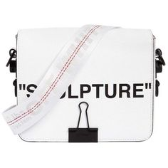 """Off White Women """"sculpture"""" Printed Leather Shoulder Bag (€1.000) ❤ liked on Polyvore featuring bags, handbags, shoulder bags, white, shoulder hand bags, white shoulder bag, shoulder strap handbags, white leather shoulder bag and leather handbags"""