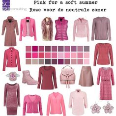 Pink for a soft summer. Summer Color Palettes, Soft Summer Color Palette, Pink Summer, Summer Colors, Summer Wardrobe, Capsule Wardrobe, Lady Like, Soft Autumn, Trendy Dresses