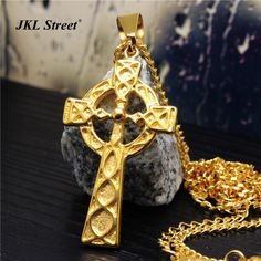 Men's Stainless Steel Gold Triquetra Viking Triple Horn Of Odin Celtic Cross Necklace & Pendant HipHop Rapper's Necklace NJF2275 //Price: $US $11.13 & FREE Shipping //     #hashtag1