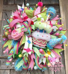 BaBamWreaths on Etsy Summer Centerpieces, Birthday Centerpieces, Birthday Party Decorations, Wreath Crafts, Wreath Ideas, Candy Land Christmas, Halloween Ribbon, Handmade Ornaments, Deco Mesh Wreaths