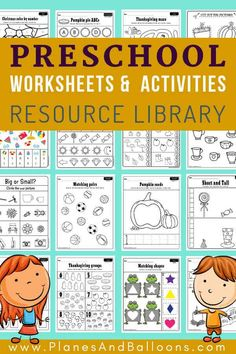 400+ Free preschool worksheets in PDF format to print - Planes & Balloons