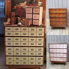 Upcycled Drawer Chest To Diy Faux Card Catalog Reveal