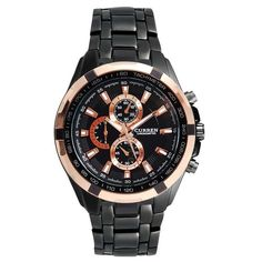 El negro y el dorado se pueden combinar en un reloj sin estridencias. Un ejemplo.