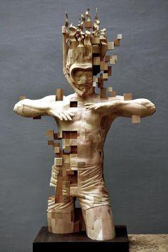 Snorkeling, Hsu Tung Han, Wood Sculpture, 2017 : Art Abstract Sculpture, Wood Sculpture, Bronze Sculpture, Colossal Art, Glitch Art, Art Plastique, Installation Art, Wood Carving, Oeuvre D'art