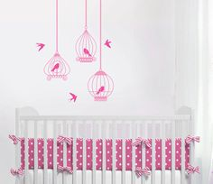 Birdcages Set of 3 with birds Nursery Wall Vinyl by ababywall, $26.00