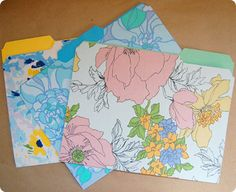 ReFab Diaries: Repurpose: Vintage linens ...covered file folders