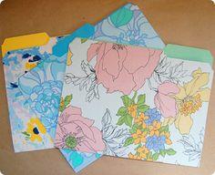 ReFab Diaries: Repurpose: Vintage linens ...covered file folders