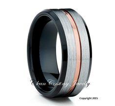 Rose Gold Tungsten Ring Black Tungsten Wedding Band 18k by CCJ1996