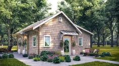 Small Cottage Homes, Lake Cottage, Small Cottage House Plans, Guest House Plans, Beach Cottage Exterior, Cottage Style House Plans, Small Cottages, Small House Floor Plans, Backyard Cottage