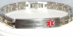 Medical-alert bracelet begs for browser cleansing - Let the first responders know what you don't want the world (or at least your family and friends) to see. just in case. Emergency Bracelet, Penelope, In Case Of Emergency, Emergency Response, Make Me Smile, Just In Case, Cuff Bracelets, Funny Pictures, Funny Pics