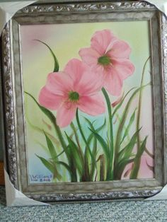 Amaryllis Flowers  Oil Portrait Painting 16  x  by LinsFinalTouch