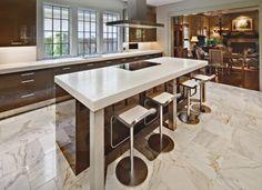 Brown Kitchen, tile floors