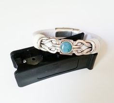 Regaliz Leather Bracelet Antique Silver Turquoise White Magnetic Clasp Free Shipping in USA on Etsy, $34.00