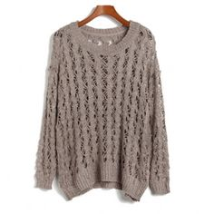 Light Khaki Hollow Pattern Loose Knited Sweater