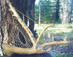 Dream Catcher: 'Elk Ship' One of a kind Original Weaving Wall Hanging, Wall Hangings, Craft Stick Crafts, Craft Ideas, Driftwood Mobile, A Perfect Circle, Medicinal Plants, Dreamcatchers, Heart Art