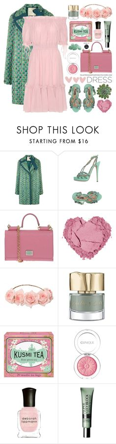 """Spring Trend: Off-Shoulder Dresses"" by palmtreesandpompoms ❤ liked on Polyvore featuring Marco de Vincenzo, Lerre, Dolce&Gabbana, Smith & Cult, Kusmi Tea, Clinique, Deborah Lippmann and Alexander McQueen"
