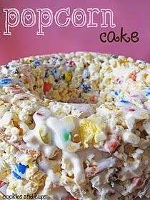Popcorn cake! Looks amazing! Great for office parties or even a baby shower.