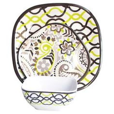 """Add an eye-catching touch of style to your next soiree with this chic design, perfect for charming weekend brunches and afternoon luncheons alike.   Product: 4 Dinner plates, 4 salad plates and 4 bowlsConstruction Material: MelamineColor: DominoDimensions: Dinner plate: 10"""" W x 10"""" D eachSalad plate: 8"""" W x 8"""" D eachBowl: 6"""" W x 6"""" D eachCleaning and Care: Hand wash"""