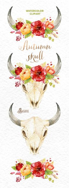 This set of 4 high quality hand painted watercolor skulls with antlers and flowers in Hires. Perfect graphic for wedding invitations, greeting