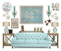 """""""Aqua Comfort"""" by bcurryrice on Polyvore featuring Safavieh, Kate Spade, Currey & Company, Barclay Butera, New View, jcp and Improvements"""