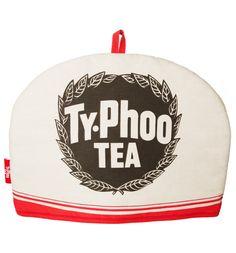 Typhoo [Ty-Phoo] Tea tea cosy, company logo in black on white, UK