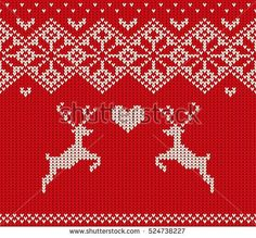 Handmade Knitted Seamless Christmas Pattern. Scandinavian Style Vector Illustration with Reindeer and Heart