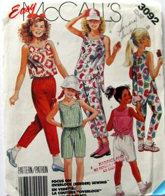 McCalls 3092, Girl's Sizes 8, Tops Pants and Shorts Sewing Pattern, Short front Long Back Top, Cropped Pants Elastic Waist, Vintage 1987 by OnceUponAnHeirloom on Etsy