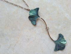 Ginkgo Leaf Necklace Forest Green Ginkgo by RenesJewelryArt