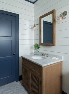 Brown Oak Drifted Shutter Vanity With Shiplap Walls Cottage Bathroom