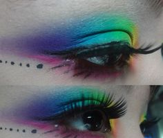 rainbow eye makeup... Dont know why but I love dots