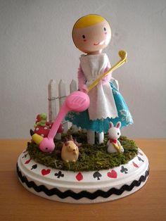 Alice in Wonderland Clothespin Doll by LittleBun on Etsy, $40.00