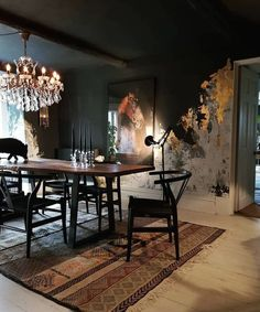 30 Casual Black And Gold Dining Room Design Ideas For Inspiration Black And Gold Living Room, Living Room Grey, Living Rooms, Table Design, Dining Room Design, Dining Area, Grey Wall Decor, Luxury Dining Room, Dining Room Walls