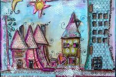 Mixed media art journal, houses