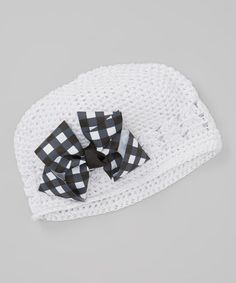 Another great find on #zulily! Black & White Gingham Crochet Beanie & Bow by Dress Up Dreams Boutique #zulilyfinds