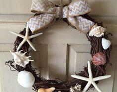 Striking 13 in. Seashell Wreath in Blue Gold & Ivory w/