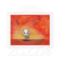 White buffalo art fun red painting contemporary custom announcements from Zazzle.com