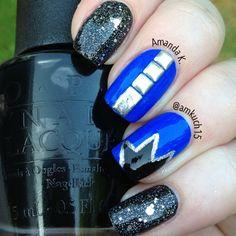 unhas #nail #unhas #unha #nails #unhasdecoradas #nailart #black #preto #blue #azul #silver #prateado
