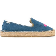 Soludos embroidered bird espadrilles ($107) ❤ liked on Polyvore featuring shoes, sandals, blue, espadrille sandals, embroidered sandals, embroidered shoes, blue shoes and soludos sandals