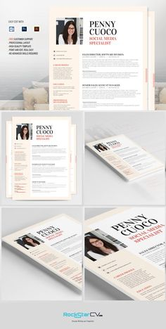 Resume Template Graffias by RockStar Design on Free Cover Letter, Cover Letter For Resume, Cover Letter Template, Letter Templates, Microsoft Word Resume Template, Best Resume Template, Creative Resume Templates, Design Templates, Simple Cv Template