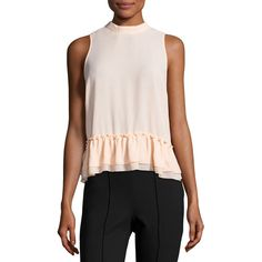 Romeo & Juliet Couture Chiffon Ruffle-Hem Tank Top ($30) ❤ liked on Polyvore featuring tops, peach, layering tank tops, crew neck tank top, chiffon tops, layered tops and chiffon layered top