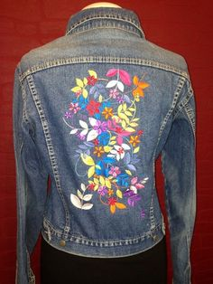 The wonderful denim jacket is an absolute unique piece. The embroidery was applied by me with a sewing and embroidery machine. Embroidered Denim Jacket, Embroidered Clothes, Denim Ideas, Embroidery Fashion, Work Shirts, Denim Fashion, Hand Painted Dress, Couture, Sewing