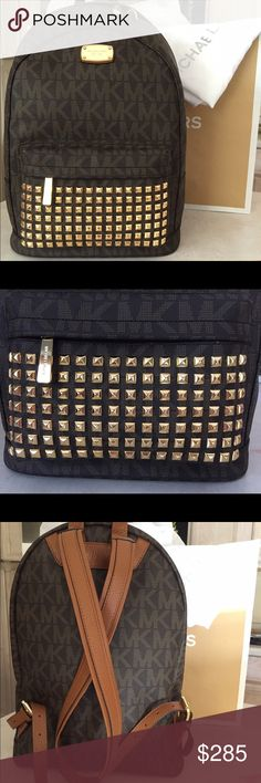 "Aut. NWT Brown Large Logo Studded Michael Kors Authentic Large NWT MK Logo Brown Studs Backpack. Gold Hardware and Leather features. Perfect size for school supplies. Traveling in fashion of well known Michael Kors Brand. This bag comes with Dust bag and Shopping MK Paper Bag. MSRP $398. Dimensions Approx 15.5"" H x 11"" W x 6"" D. KORS Michael Kors Bags Backpacks"