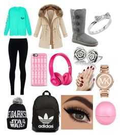 """""""Winter school outfit"""" by klekaj on Polyvore featuring beauty, Victoria's Secret, NIKE, UGG Australia, adidas Originals, Casetify, Apple, Chamilia, Kate Spade and Michael Kors"""