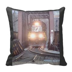 "Norfolk Southern #3288 Throw Pillow; $32.95 - 16"" x 16"" - #stanrail - Accent your home with custom polyester pillows from Zazzle. Made of a high quality Simplex Knit fabric, these 100% Polyester pillows are soft and wrinkle free. The heavy weight stretch material provides great color definition for your designs, text, monogram, and photos. The perfect complement to your couch, custom pillows will make you the envy of the neighborhood.  @stanrails_store"