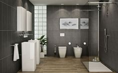 graue wand Designs badezimmer idee dusche